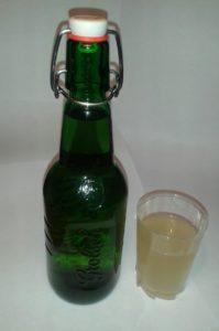 ginger kefir bottle and glass