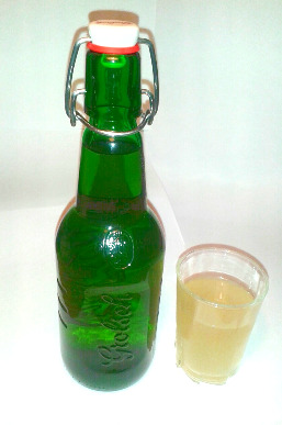 ginger kefir bottle and glass